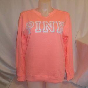 VS Pink M Sweatshirt Top Tunic Coral Split Neck x